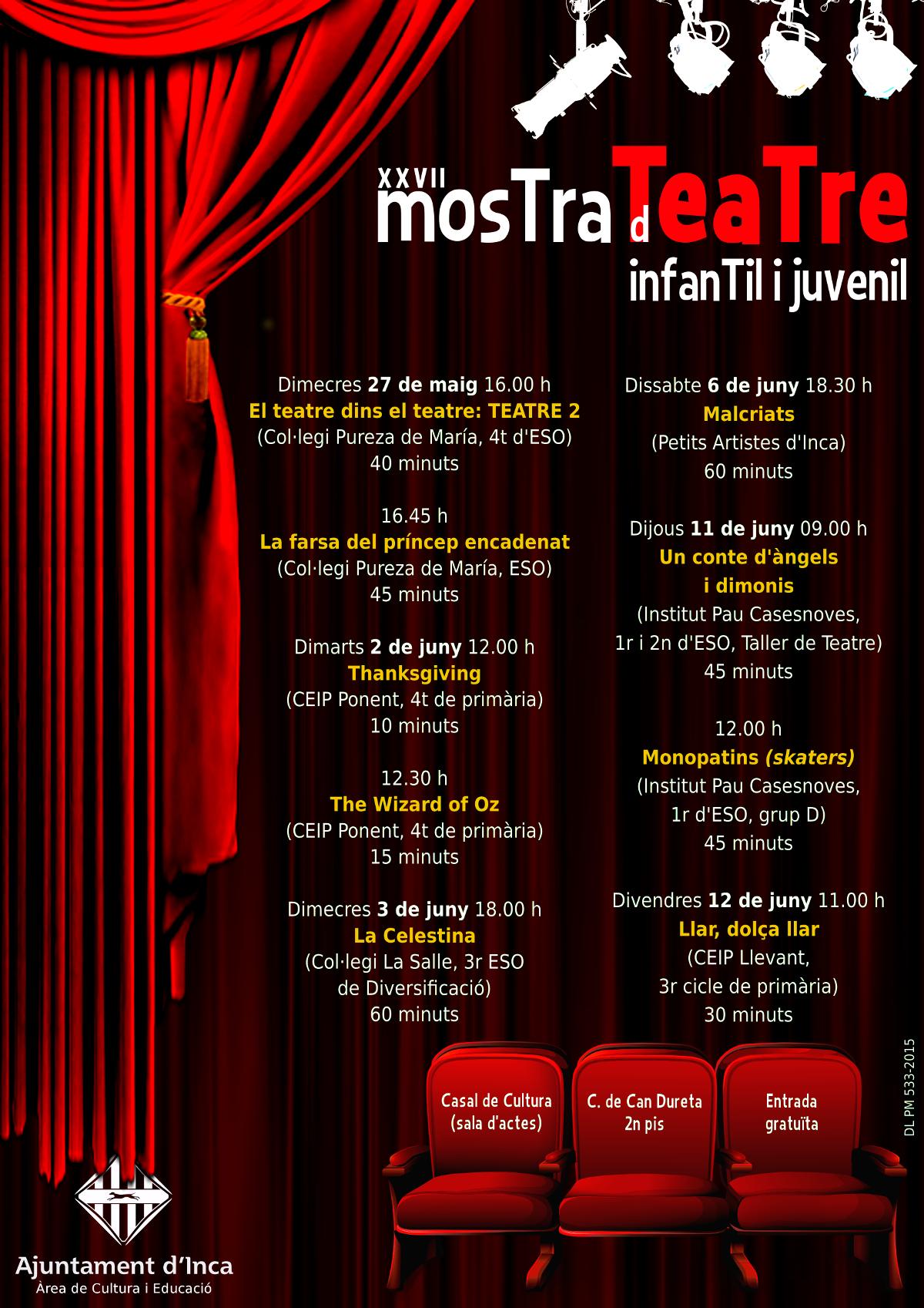 Programa de la XXVII Mostra de Teatre Infantil i Juvenil d'Inca